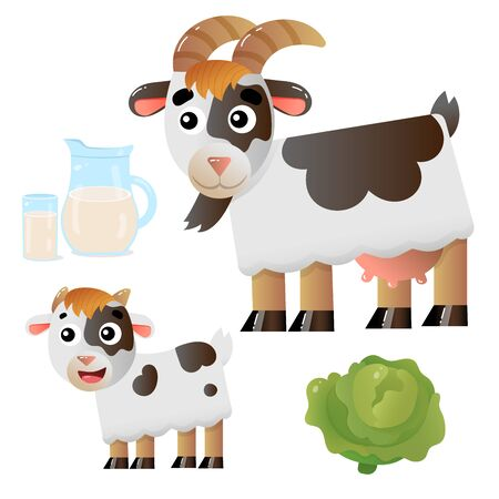 Color image of cartoon nanny goat with kid on white background. Farm animals. Vector illustration set for kids.