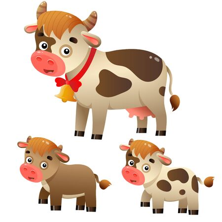 Color image of cartoon cow with calfs on white background. Farm animals. Vector illustration set for kids. Illusztráció