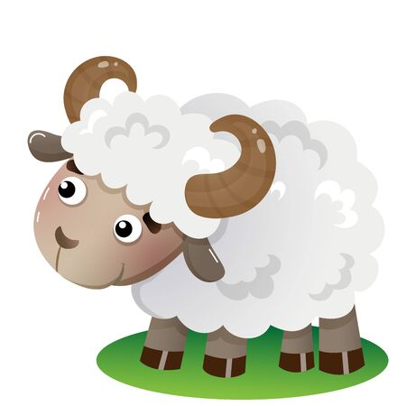 Color image of cartoon sheep on white background. Farm animals. Vector illustration for kids.