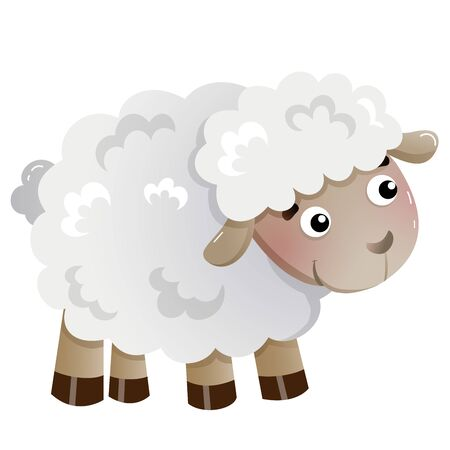 Color image of cartoon little sheep on white background. Farm animals. Vector illustration for kids.