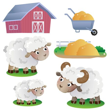 Color images of cartoon sheep with barn and hay on white background. Farm animals. Vector illustration set for kids.