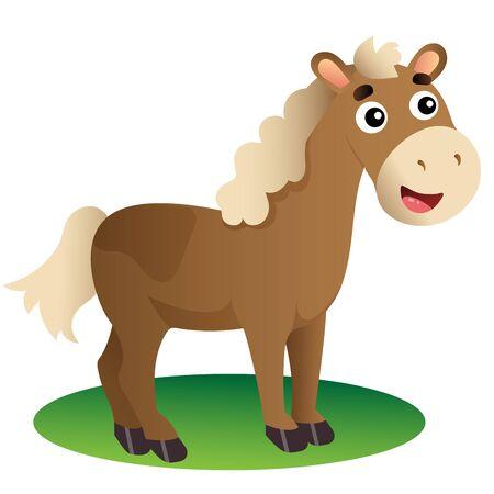 Immagine a colori del cavallo del fumetto su priorità bassa bianca. Animali da fattoria. Illustrazione vettoriale per bambini.