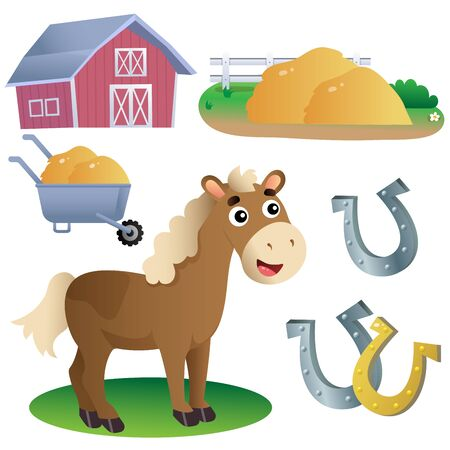 Color images of cartoon horse with horseshoes, of barn and hay on white background. Farm animals. Vector illustration set for kids.