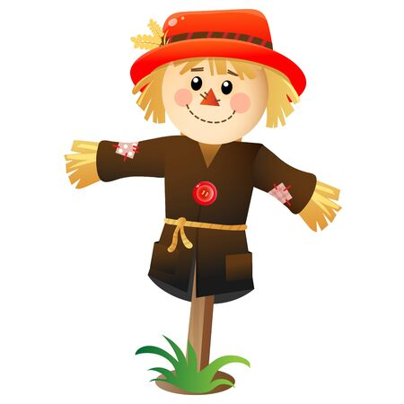 Imagen en color de dibujos animados de peluche o espantapájaros sobre fondo blanco. Huerta. Ilustración de vector para niños. Ilustración de vector