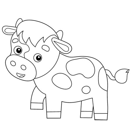 Coloring Page Outline of cartoon calf or kid of cow. Farm animals. Coloring book for kids.