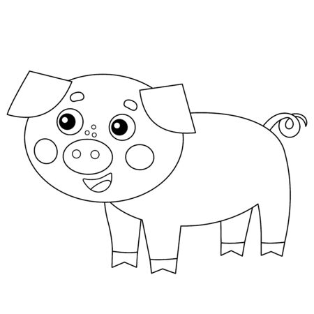Coloring Page Outline of cartoon pig or swine. Farm animals. Coloring book for kids. Ilustracja