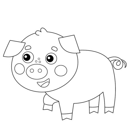 Coloring Page Outline of cartoon little piggy. Farm animals. Coloring book for kids.
