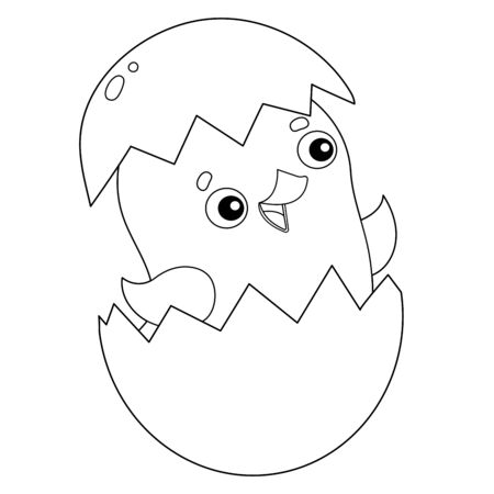 Coloring Page Outline of cartoon chick with egg. Farm animals. Coloring book for kids.