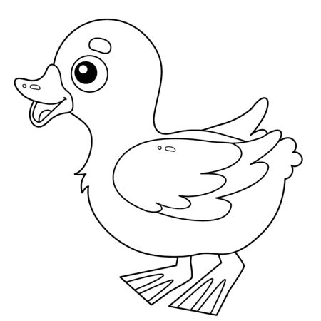 Coloring Page Outline of cartoon duckling. Farm animals. Coloring book for kids.