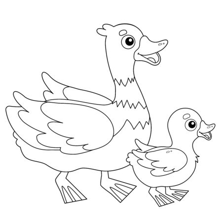 Coloring Page Outline of cartoon duck with duckling. Farm animals. Coloring book for kids. Illustration