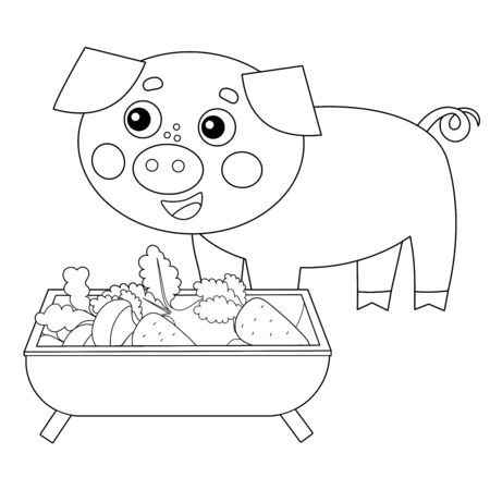 Coloring Page Outline of cartoon pig or swine with food. Farm animals. Coloring book for kids.
