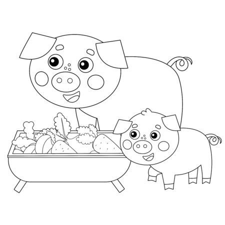 Coloring Page Outline of cartoon pig with piggy. Farm animals. Coloring book for kids.