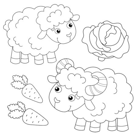 Coloring Page Outline of cartoon sheep with lamb. Farm animals. Coloring book for kids.