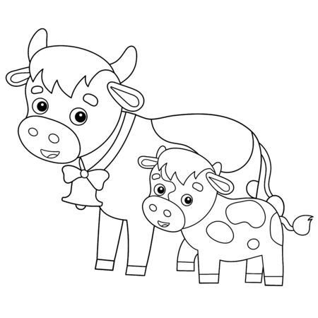 Coloring Page Outline of cartoon cow with calf. Farm animals. Coloring book for kids. 向量圖像