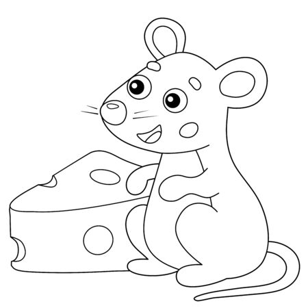 Coloring Page Outline of cartoon mouse with cheese. Animals. Coloring book for kids.