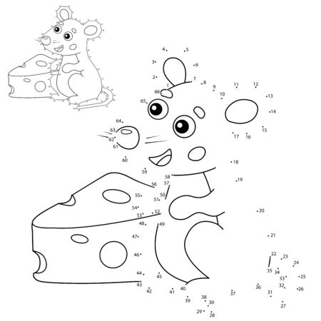 Educational Puzzle Game for kids: numbers game. Cartoon mouse with cheese. Animals. Coloring book for children.