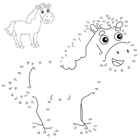 Educational Puzzle Game for kids: numbers game. Cartoon horse. Farm animals. Coloring book for children.