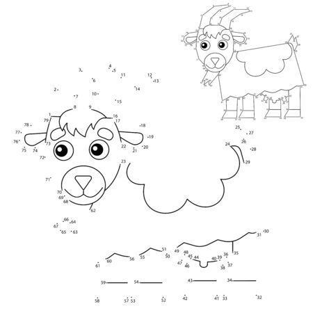 Educational Puzzle Game for kids: numbers game. Cartoon nanny goat. Farm animals. Coloring book for children.