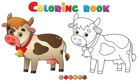 Coloring Page Outline of cartoon cow with bell. Farm animals. Coloring book for kids.