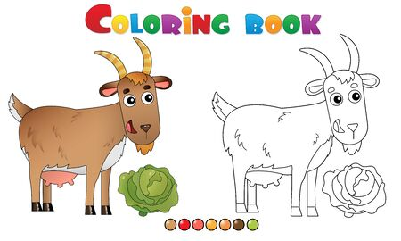 Coloring Page Outline of cartoon nanny goat. Farm animals. Coloring book for kids. Illusztráció