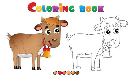 Coloring Page Outline of cartoon kid of goat with bell. Farm animals. Coloring book for kids.