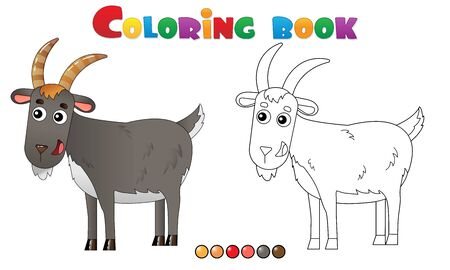 Coloring Page Outline of cartoon goat. Farm animals. Coloring book for kids.