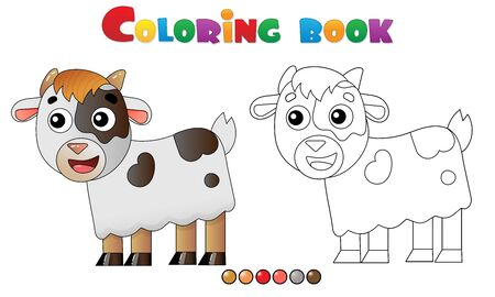 Coloring Page Outline of cartoon kid of goat. Farm animals. Coloring book for kids.