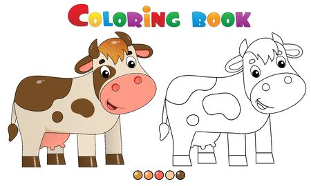Coloring Page Outline of cartoon cow. Farm animals. Coloring book for kids.