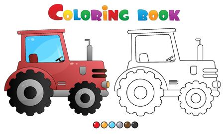 Coloring Page Outline of cartoon tractor. Transport. Coloring book for kids.