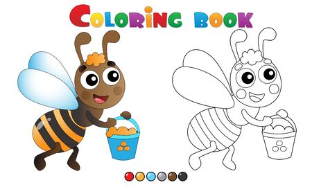 Coloring Page Outline of cartoon bee with honey. Coloring book for kids. Illusztráció