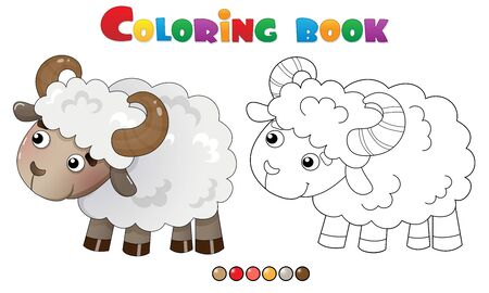 Coloring Page Outline of cartoon sheep. Farm animals. Coloring book for kids.