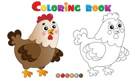 Coloring Page Outline of cartoon chicken or hen. Farm animals. Coloring book for kids.