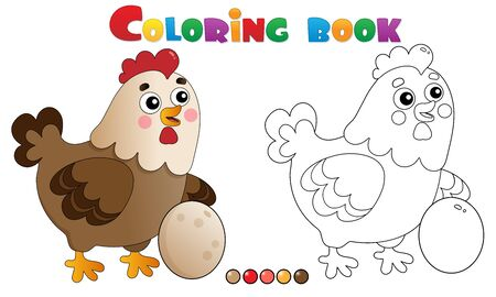 Coloring Page Outline of cartoon chicken or hen with egg. Farm animals. Coloring book for kids.