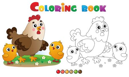 Coloring Page Outline of cartoon chicken or hen with chicks. Farm animals. Coloring book for kids.