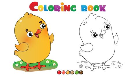 Coloring Page Outline of cartoon chick or kid of hen. Farm animals. Coloring book for kids.
