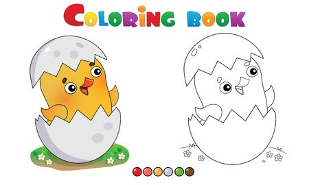 Coloring Page Outline of cartoon chick with egg. Farm animals. Coloring book for kids. Illusztráció