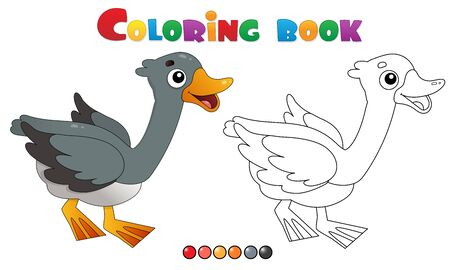 Coloring Page Outline of cartoon goose. Farm animals. Coloring book for kids.