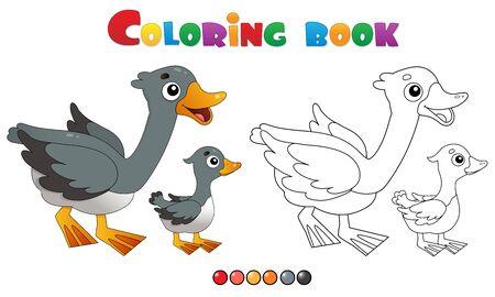 Kleurplaat pagina overzicht van cartoon gans met gansje. Boerderijdieren. Kleurboek voor kinderen.