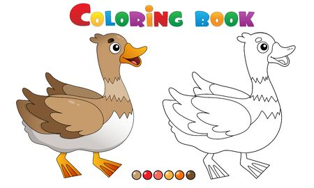 Coloring Page Outline of cartoon duck. Farm animals. Coloring book for kids.