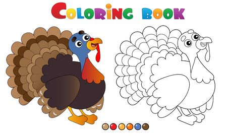 Coloring Page Outline of cartoon turkey. Farm animals. Coloring book for kids.