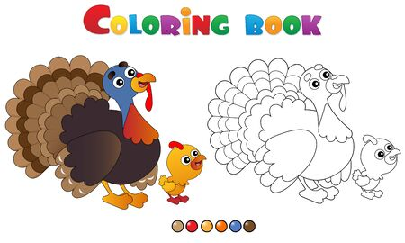 Coloring Page Outline of cartoon turkey with nestling. Farm animals. Coloring book for kids.