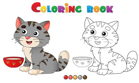 Coloring Page Outline of cartoon striped cat. Pets. Coloring book for kids.