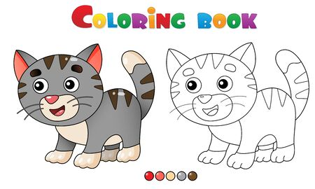 Coloring Page Outline of cartoon kitten or  little cat. Pets. Coloring book for kids. Illusztráció