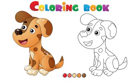 Coloring Page Outline of cartoon dog. Pets. Coloring book for kids.