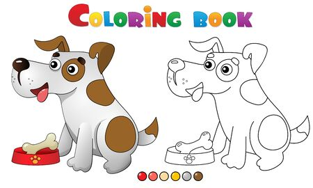 Coloring Page Outline of cartoon dog with bone. Pets. Coloring book for kids.