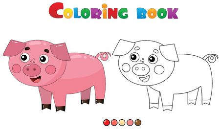 Coloring Page Outline of cartoon pig or swine. Farm animals. Coloring book for kids. Illusztráció