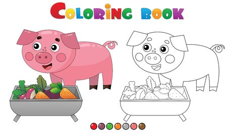 Aperçu de la page à colorier du cochon ou du porc de dessin animé avec de la nourriture. Animaux de la ferme. Livre de coloriage pour les enfants.