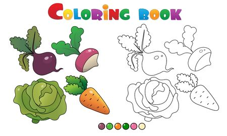 Coloring Page Outline of cartoon vegetables. Cabbage, carrot, beet and radish. Coloring book for kids.