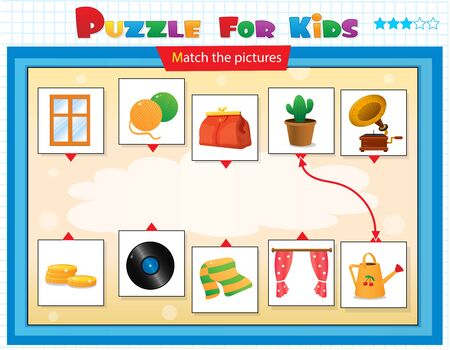 Matching game, education game for children. Puzzle for kids. Match the right object.