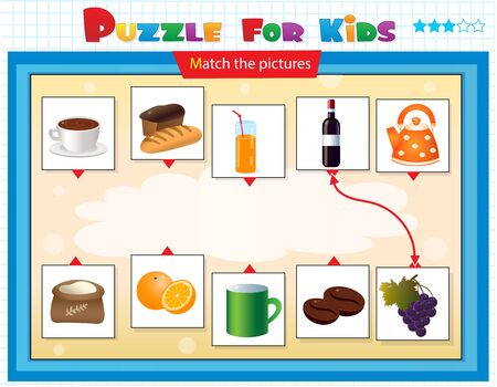 Matching game, education game for children. Puzzle for kids. Match the right object. Foods. Tableware and cookware.